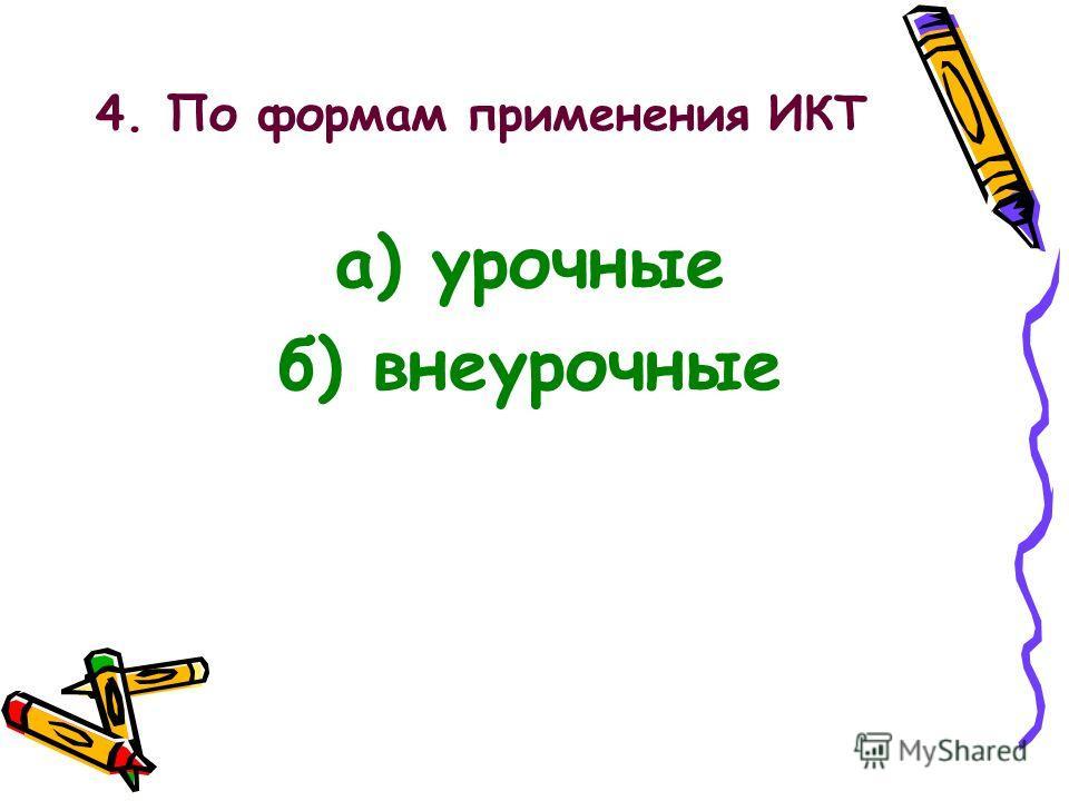 4. По формам применения ИКТ а) урочные б) внеурочные
