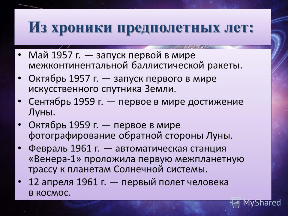 Из хроники предполетных лет: Из хроники предполетных лет: Май 1957 г. запуск первой в мире межконтинентальной баллистической ракеты. Октябрь 1957 г. запуск первого в мире искусственного спутника Земли. Сентябрь 1959 г. первое в мире достижение Луны.