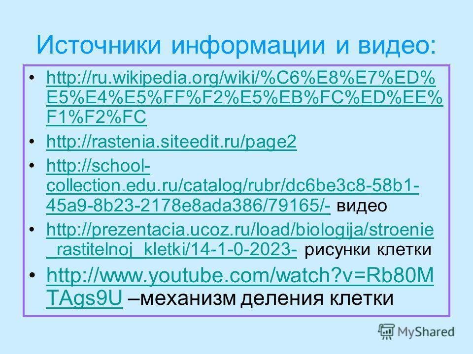 Источники информации и видео: http://ru.wikipedia.org/wiki/%C6%E8%E7%ED% E5%E4%E5%FF%F2%E5%EB%FC%ED%EE% F1%F2%FChttp://ru.wikipedia.org/wiki/%C6%E8%E7%ED% E5%E4%E5%FF%F2%E5%EB%FC%ED%EE% F1%F2%FC http://rastenia.siteedit.ru/page2 http://school- collec