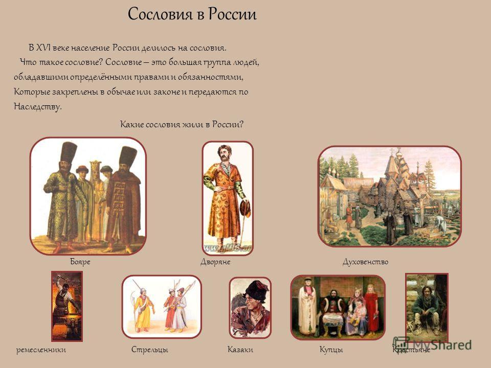 Сословия в России В XVI веке население России делилось на сословия. Что такое сословие? Сословие – это большая группа людей, обладавшими определёнными правами и обязанностями, Которые закреплены в обычае или законе и передаются по Наследству. Какие с