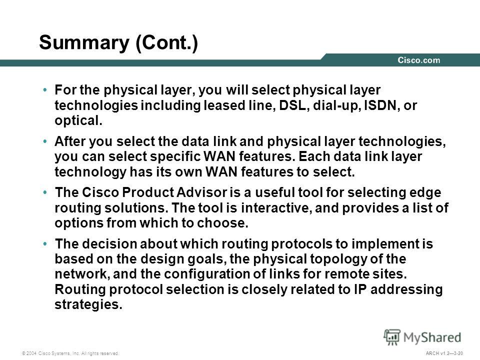 © 2004 Cisco Systems, Inc. All rights reserved. ARCH v1.23-20 Summary (Cont.) For the physical layer, you will select physical layer technologies including leased line, DSL, dial-up, ISDN, or optical. After you select the data link and physical layer
