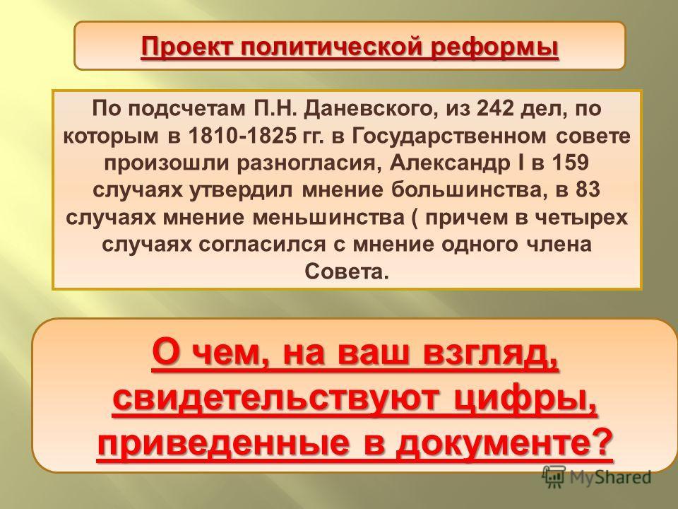 По подсчетам П. Н. Даневского, из 242 дел, по которым в 1810-1825 гг. в Государственном совете произошли разногласия, Александр I в 159 случаях утвердил мнение большинства, в 83 случаях мнение меньшинства ( причем в четырех случаях согласился с мнени
