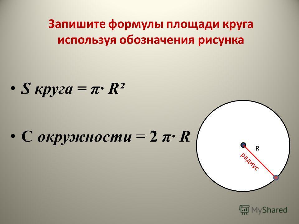 S круга = π R² С окружности = 2 π R R радиус Запишите формулы площади круга используя обозначения рисунка