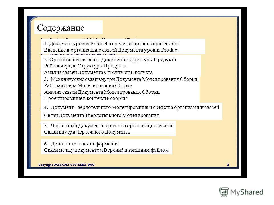 Содержание 1. Документ уровня Product и средства организации связей Введение в организацию связей Документа уровня Product 2. Организация связей в Документе Структуры Продукта Рабочая среда Структуры Продукта Анализ связей Документа Структуры Продукт