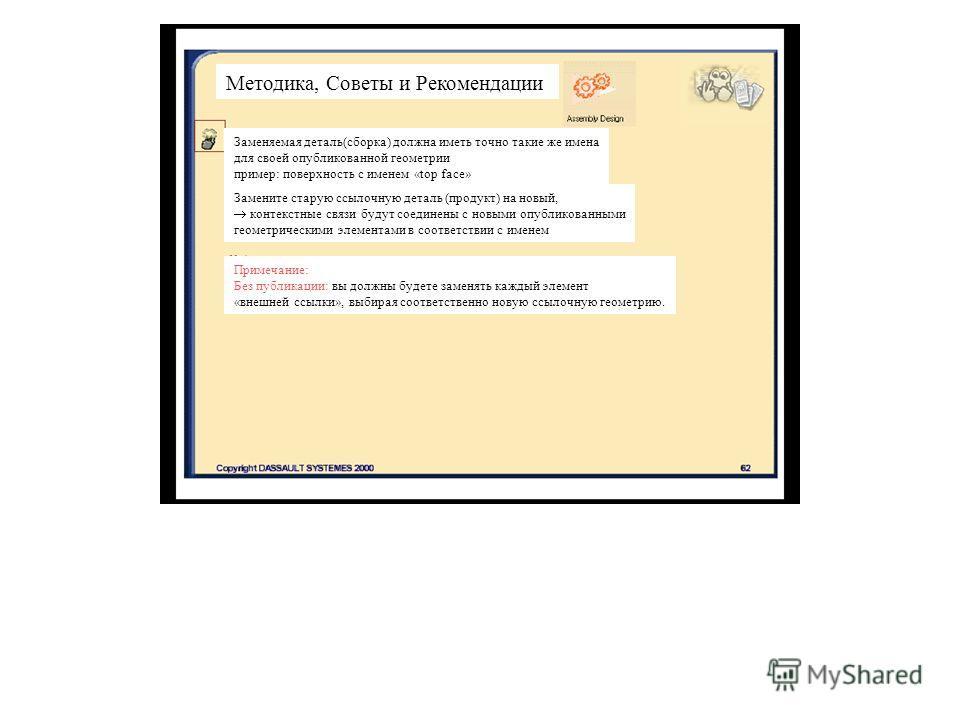 Методика, Советы и Рекомендации Заменяемая деталь(сборка) должна иметь точно такие же имена для своей опубликованной геометрии пример: поверхность с именем «top face» Замените старую ссылочную деталь (продукт) на новый, контекстные связи будут соедин