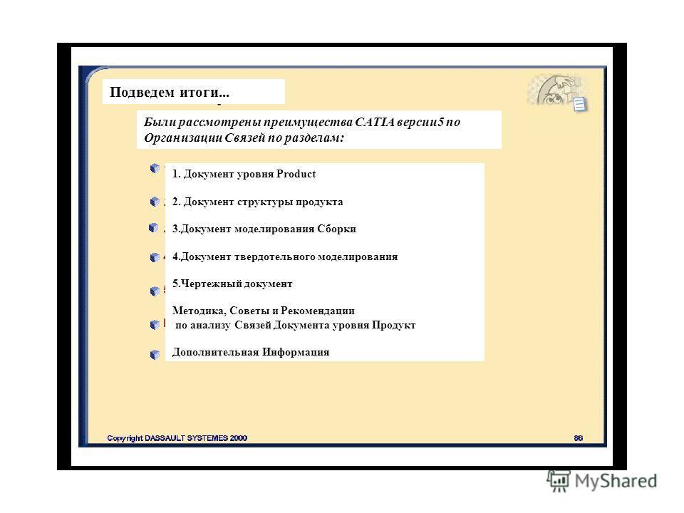Подведем итоги... Были рассмотрены преимущества CATIA версии 5 по Организации Связей по разделам: 1. Документ уровня Product 2. Документ структуры продукта 3. Документ моделирования Сборки 4. Документ твердотельного моделирования 5. Чертежный докумен
