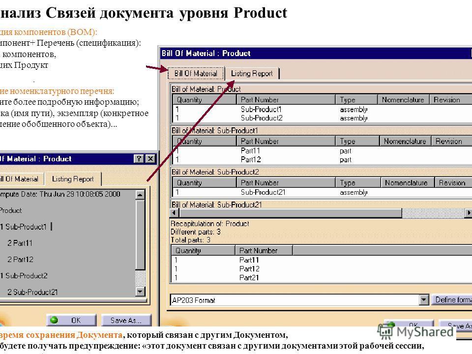 Спецификация компонентов (ВОМ): Анализ компонент+ Перечень (спецификация): список всех компонентов, составляющих Продукт Назначение номенклатурного перечня: вы получите более подробную информацию; путь поиска (имя пути), экземпляр (конкретное предста