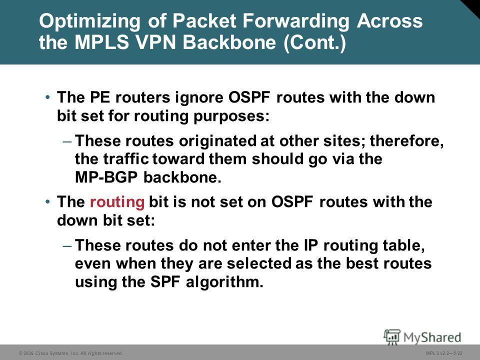 © 2006 Cisco Systems, Inc. All rights reserved. MPLS v2.25-22 The PE routers ignore OSPF routes with the down bit set for routing purposes: –These routes originated at other sites; therefore, the traffic toward them should go via the MP-BGP backbone.