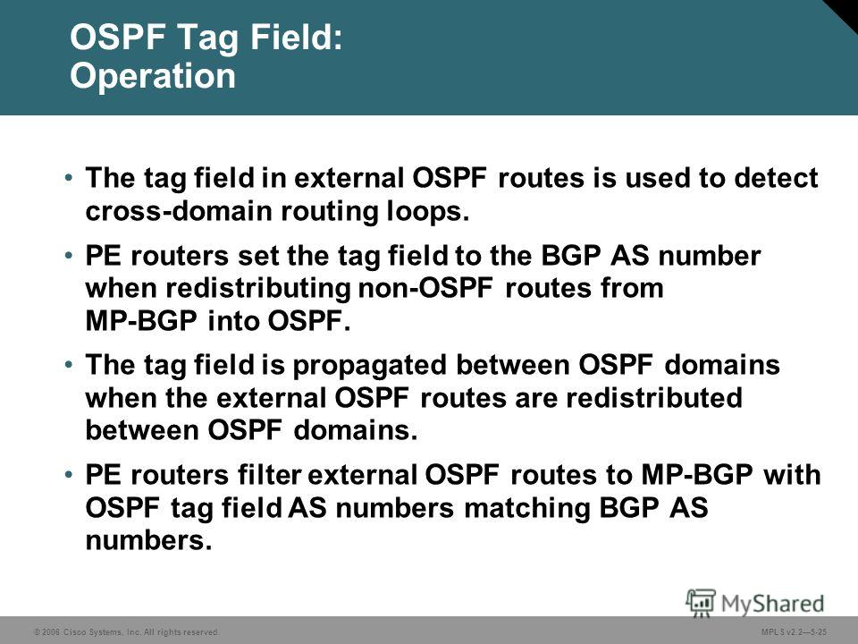© 2006 Cisco Systems, Inc. All rights reserved. MPLS v2.25-25 OSPF Tag Field: Operation The tag field in external OSPF routes is used to detect cross-domain routing loops. PE routers set the tag field to the BGP AS number when redistributing non-OSPF