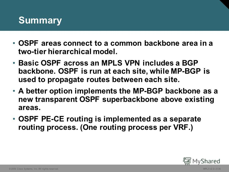 © 2006 Cisco Systems, Inc. All rights reserved. MPLS v2.25-36 OSPF areas connect to a common backbone area in a two-tier hierarchical model. Basic OSPF across an MPLS VPN includes a BGP backbone. OSPF is run at each site, while MP-BGP is used to prop