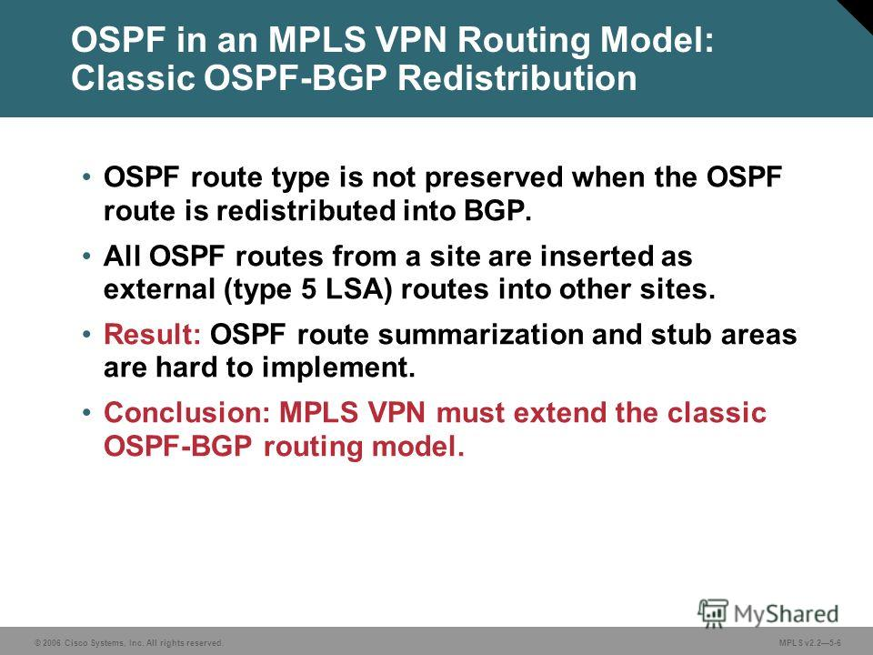 © 2006 Cisco Systems, Inc. All rights reserved. MPLS v2.25-6 OSPF in an MPLS VPN Routing Model: Classic OSPF-BGP Redistribution OSPF route type is not preserved when the OSPF route is redistributed into BGP. All OSPF routes from a site are inserted a