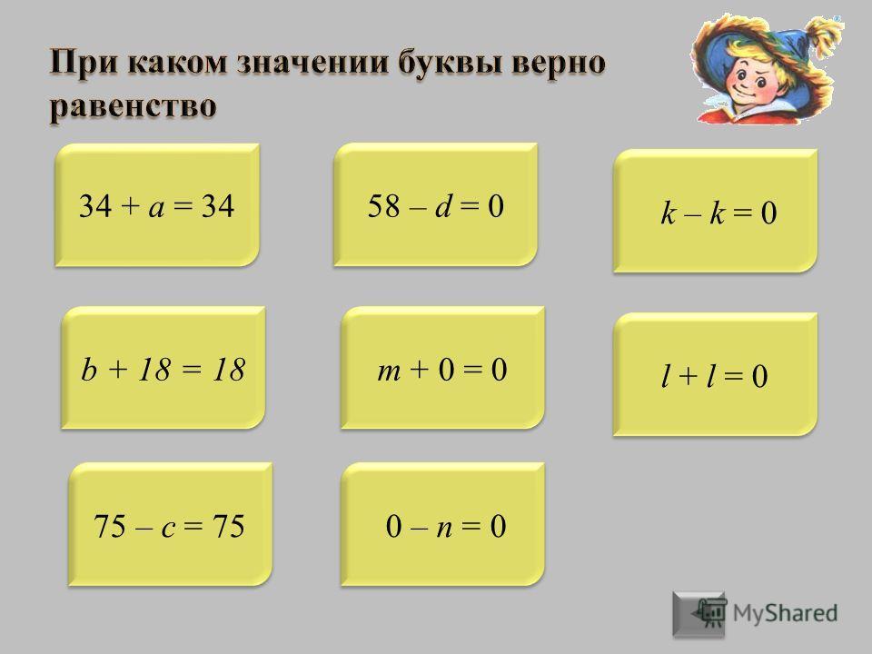 34 + a = 34 b + 18 = 18 75 – c = 7558 – d = 0 m + 0 = 0 0 – n = 0 k – k = 0 l + l = 0