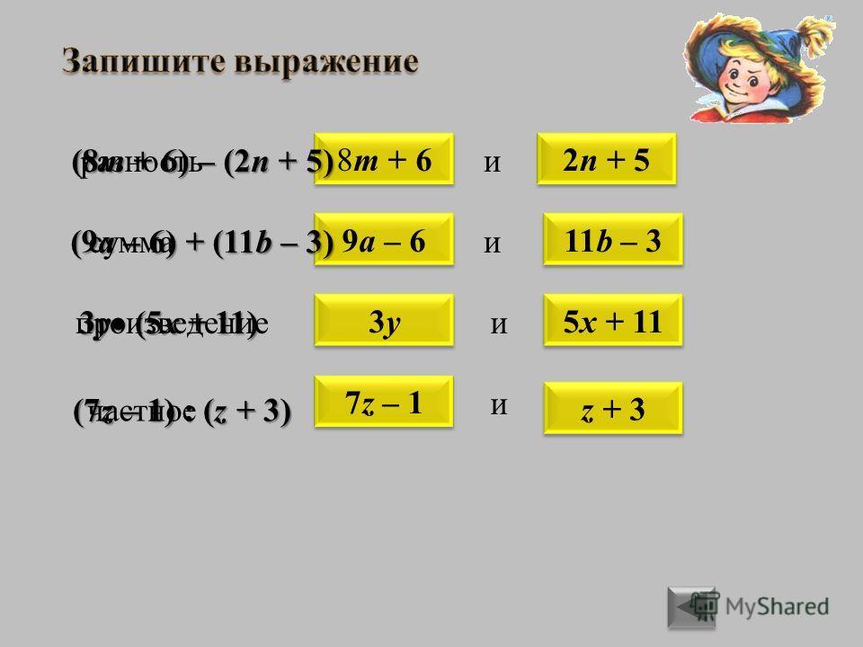 8m + 62n + 5 11b – 39a – 6 разностьи (8m + 6) – (2n + 5) (9a – 6) + (11b – 3) суммаи 5x + 113y3y произведениеи z + 3 7z – 1 частное и 3y (5x + 11) (7z – 1) : (z + 3)