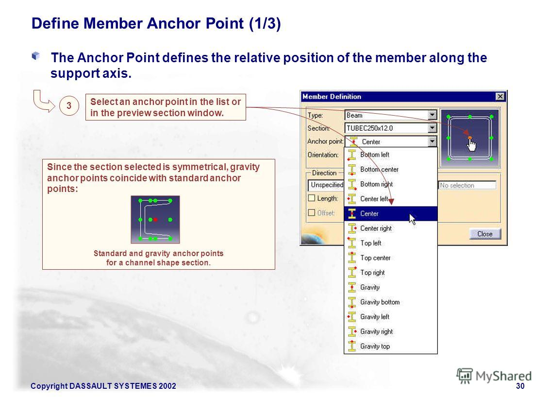 Copyright DASSAULT SYSTEMES 200230 Since the section selected is symmetrical, gravity anchor points coincide with standard anchor points: Standard and gravity anchor points for a channel shape section. Define Member Anchor Point (1/3) The Anchor Poin