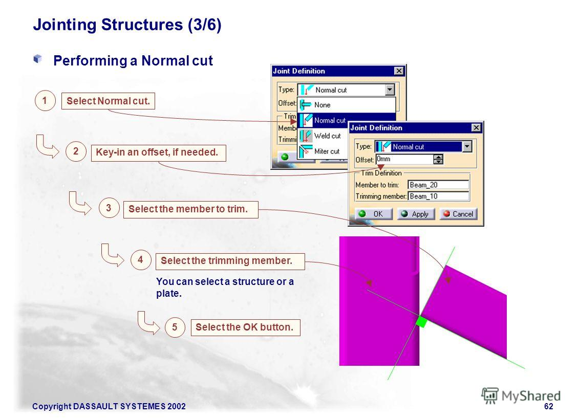 Copyright DASSAULT SYSTEMES 200262 Jointing Structures (3/6) Performing a Normal cut 1 Select Normal cut. Key-in an offset, if needed. 2 Select the member to trim. 3 You can select a structure or a plate. Select the trimming member. 4 5 Select the OK