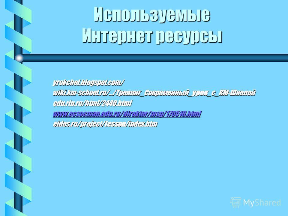 Используемые Интернет ресурсы yrokchel.blogspot.com/ wiki.km-school.ru/.../Тренинг_Современный_урок_с_КМ-Школой edu.rin.ru/html/2440. html www.ecsocman.edu.ru/direktor/msg/179510. html eidos.ru/project/lesson/index.htm