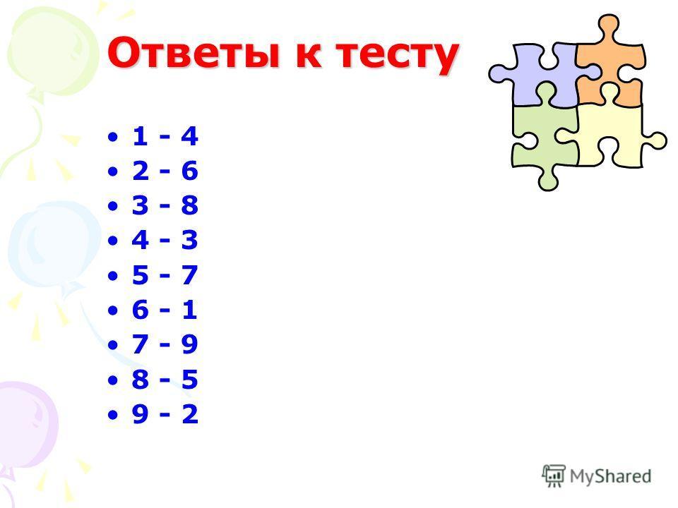 Ответы к тесту 1 - 4 2 - 6 3 - 8 4 - 3 5 - 7 6 - 1 7 - 9 8 - 5 9 - 2