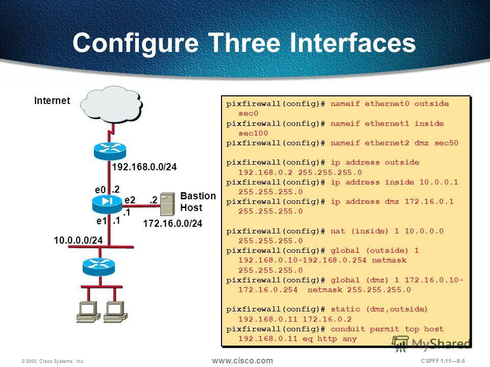 © 2000, Cisco Systems, Inc. www.cisco.com CSPFF 1.118-5 Configure Three Interfaces pixfirewall(config)# nameif ethernet0 outside sec0 pixfirewall(config)# nameif ethernet1 inside sec100 pixfirewall(config)# nameif ethernet2 dmz sec50 pixfirewall(conf