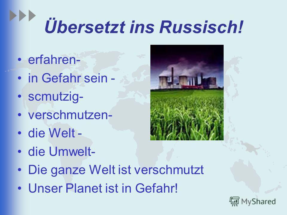 Übersetzt ins Russisch! erfahren- in Gefahr sein - scmutzig- verschmutzen- die Welt - die Umwelt- Die ganze Welt ist verschmutzt Unser Planet ist in Gefahr!