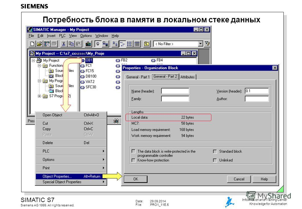 Date:29.09.2014 File:PRO1_11E.5 SIMATIC S7 Siemens AG 1999. All rights reserved. Information and Training Center Knowledge for Automation Потребность блока в памяти в локальном стеке данных rechts