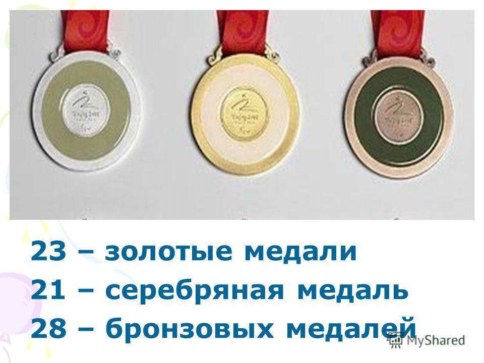 23 – золотые медали 21 – серебряная медаль 28 – бронзовых медалей