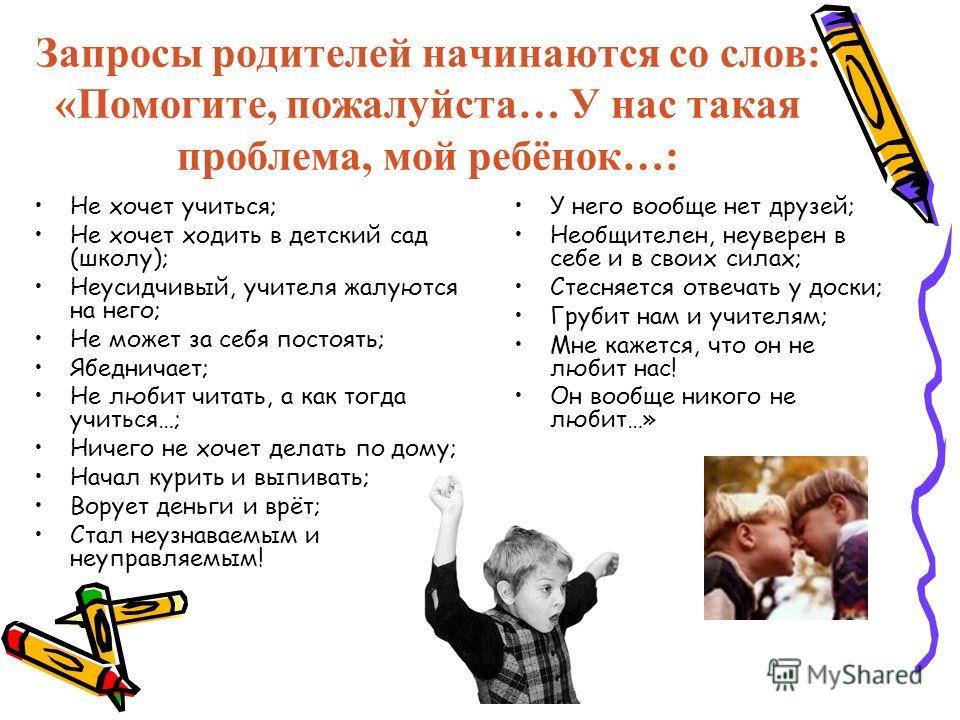 Запросы родителей начинаются со слов: «Помогите, пожалуйста… У нас такая проблема, мой ребёнок…: Не хочет учиться; Не хочет ходить в детский сад (школу); Неусидчивый, учителя жалуются на него; Не может за себя постоять; Ябедничает; Не любит читать, а