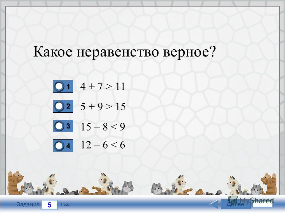 FokinaLida.75@mail.ru Далее 5 Задание 1 бал. 1111 2222 3333 4444 Какое неравенство верное? 4 + 7 > 11 5 + 9 > 15 15 – 8 < 9 12 – 6 < 6