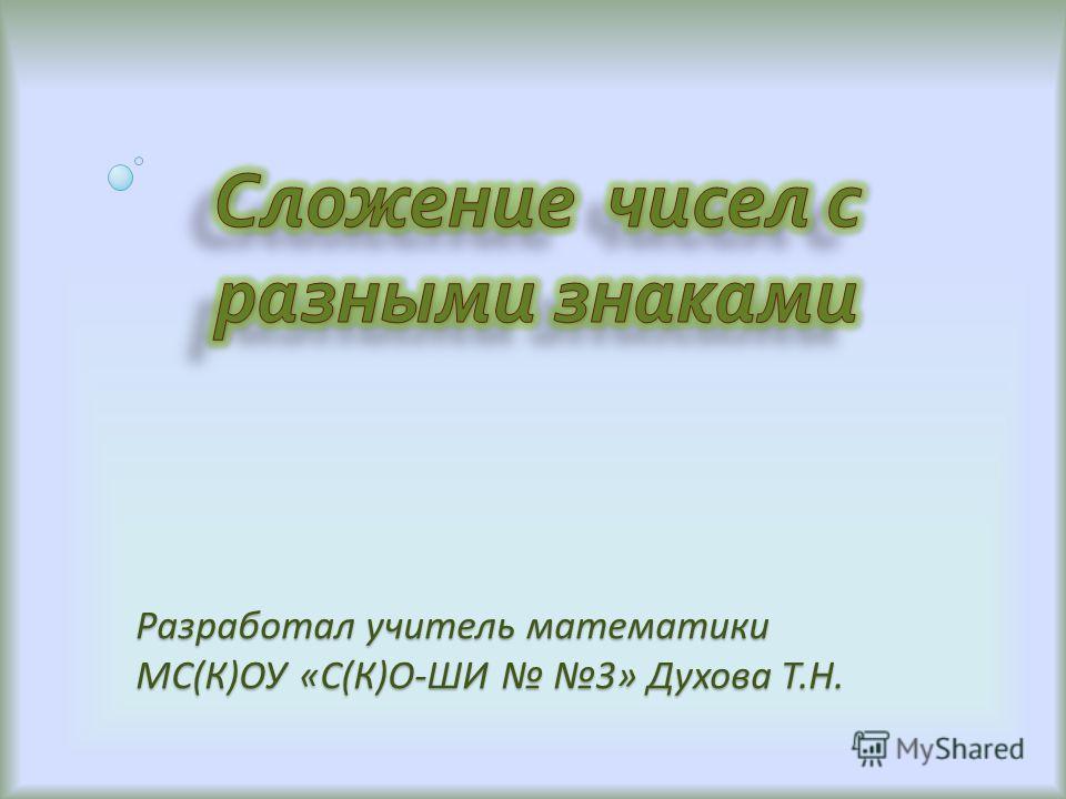 Разработал учитель математики МС(К)ОУ «С(К)О-ШИ 3» Духова Т.Н.