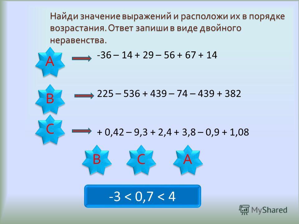 Найди значение выражений и расположи их в порядке возрастания. Ответ запиши в виде двойного неравенства. А А В В С С -36 – 14 + 29 – 56 + 67 + 14 225 – 536 + 439 – 74 – 439 + 382 + 0,42 – 9,3 + 2,4 + 3,8 – 0,9 + 1,08 -3 < 0,7 < 4 А А С С В В