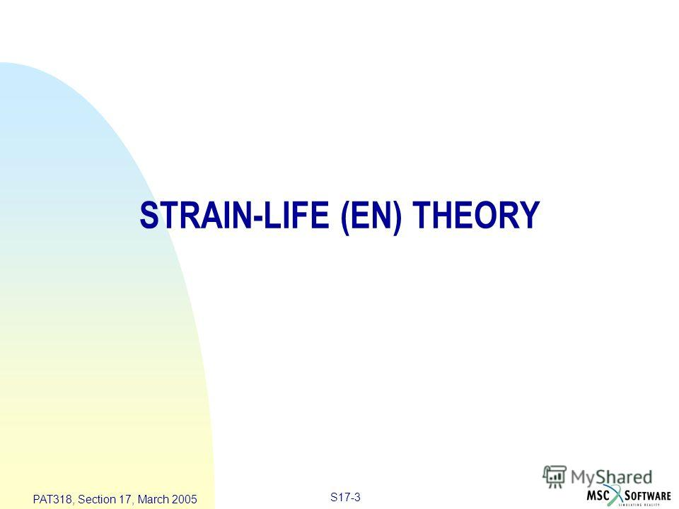 S17-3 PAT318, Section 17, March 2005 STRAIN-LIFE (EN) THEORY