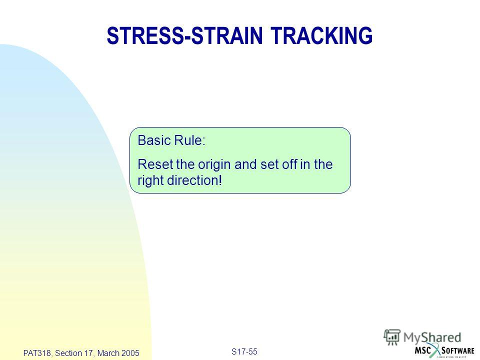 S17-55 PAT318, Section 17, March 2005 STRESS-STRAIN TRACKING Basic Rule: Reset the origin and set off in the right direction!