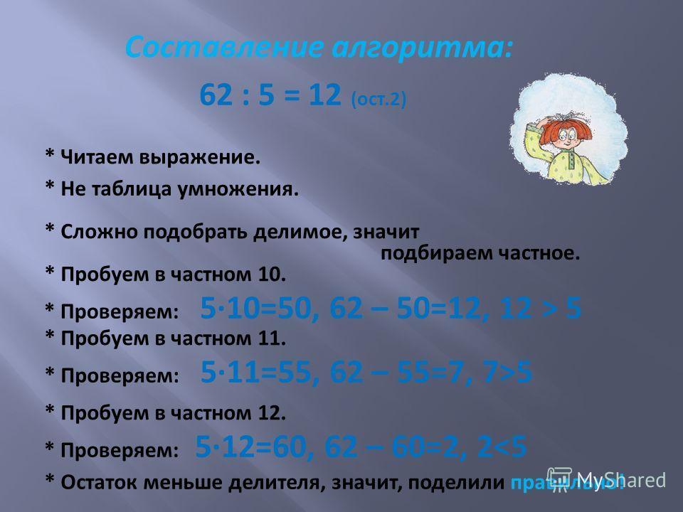 Составление алгоритма: 62 : 5 = 12 (ост.2) * Читаем выражение. * Не таблица умножения. * Сложно подобрать делимое, значит подбираем частное. * Пробуем в частном 10. * Проверяем: 510=50, 62 – 50=12, 12 > 5 * Пробуем в частном 11. * Проверяем: 511=55,