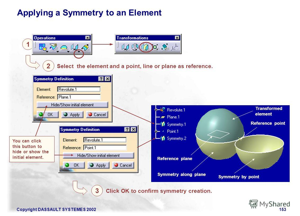 Copyright DASSAULT SYSTEMES 2002153 Transformed element Symmetry along plane Symmetry by point Applying a Symmetry to an Element 1 2 Select the element and a point, line or plane as reference. 3 Click OK to confirm symmetry creation. Reference point