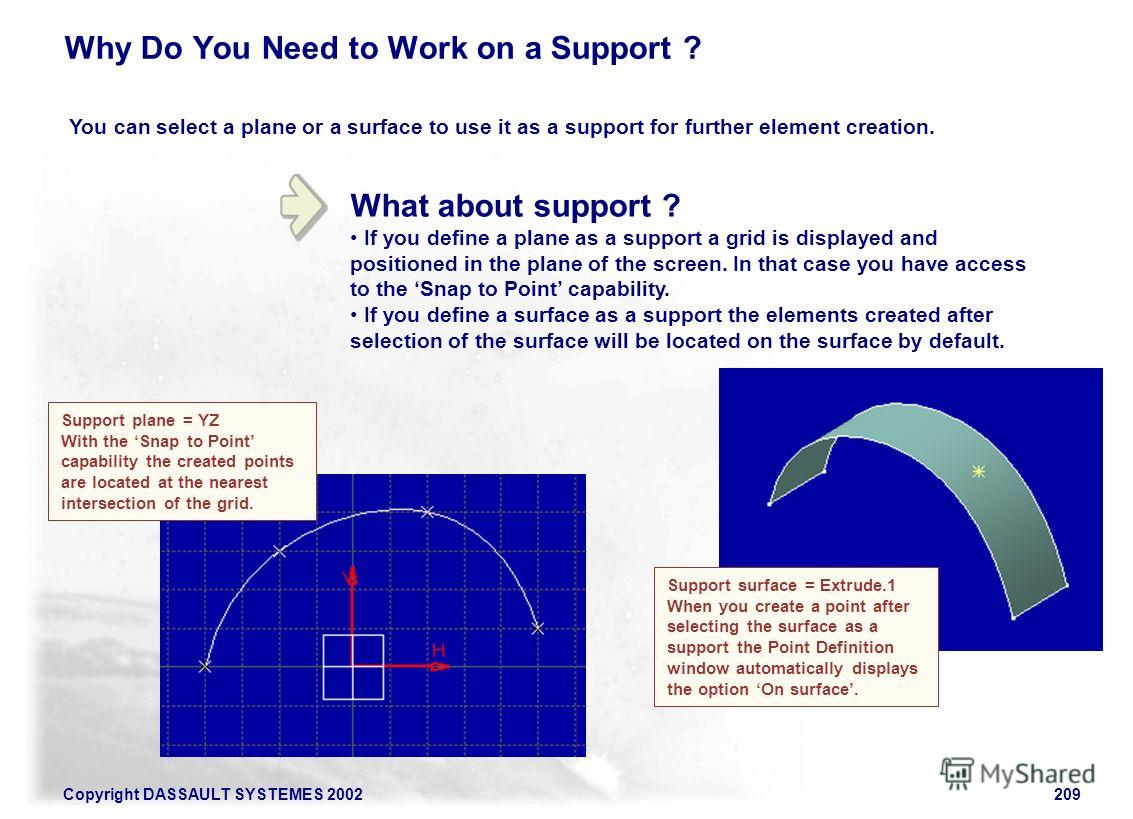 Copyright DASSAULT SYSTEMES 2002209 What about support ? If you define a plane as a support a grid is displayed and positioned in the plane of the screen. In that case you have access to the Snap to Point capability. If you define a surface as a supp