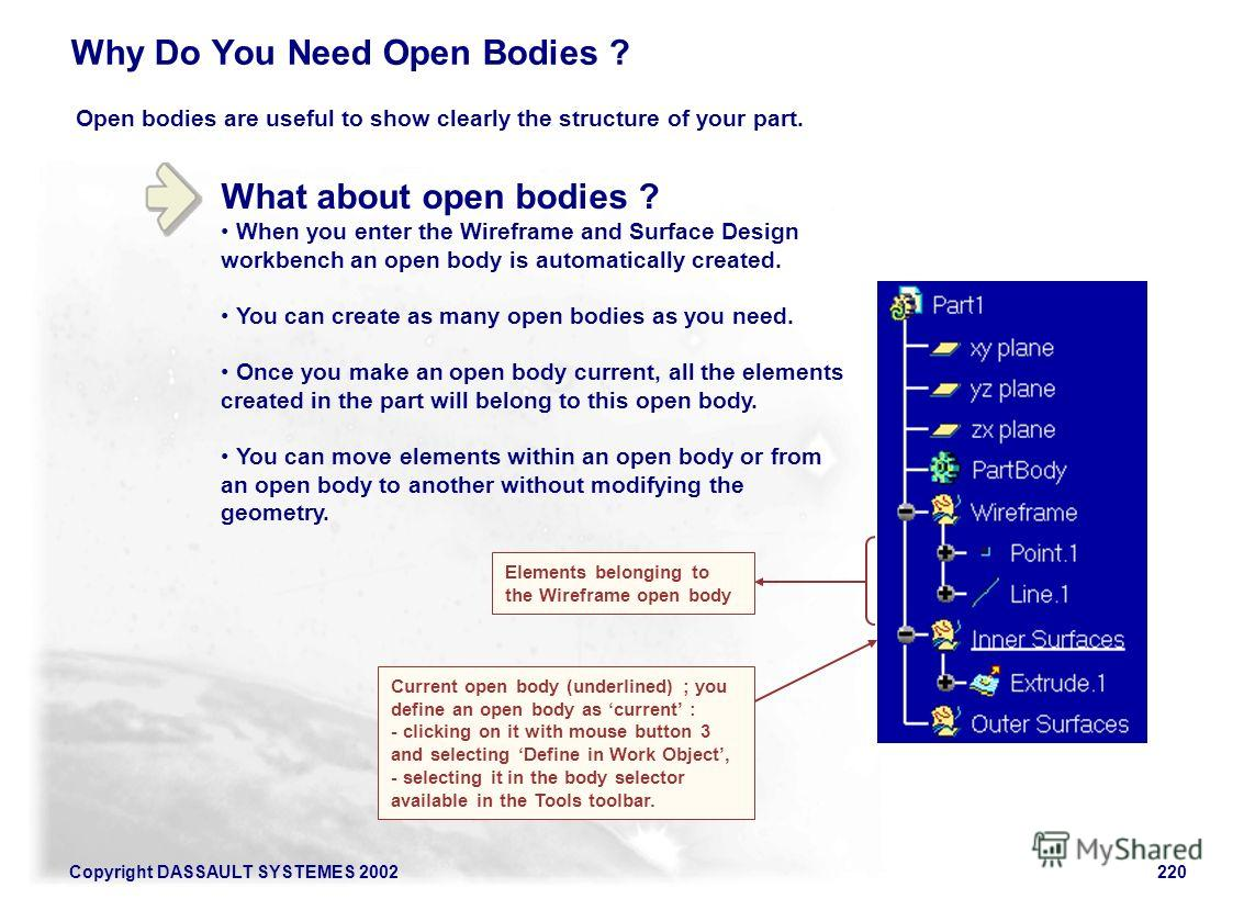 Copyright DASSAULT SYSTEMES 2002220 What about open bodies ? When you enter the Wireframe and Surface Design workbench an open body is automatically created. You can create as many open bodies as you need. Once you make an open body current, all the