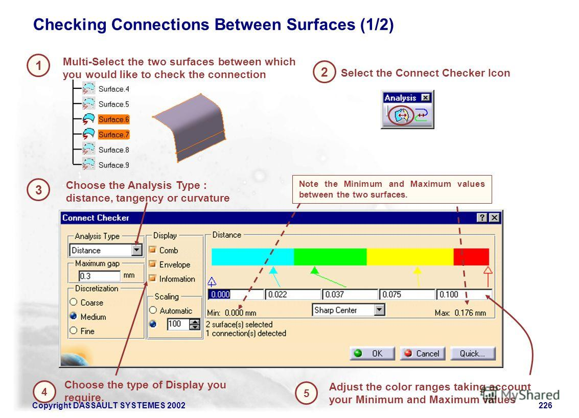 Copyright DASSAULT SYSTEMES 2002226 1 2 Multi-Select the two surfaces between which you would like to check the connection Checking Connections Between Surfaces (1/2) 3 Select the Connect Checker Icon Choose the Analysis Type : distance, tangency or