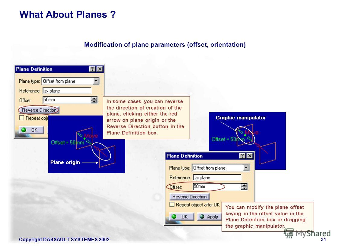 Copyright DASSAULT SYSTEMES 200231 What About Planes ? You can modify the plane offset keying in the offset value in the Plane Definition box or dragging the graphic manipulator. Graphic manipulator Modification of plane parameters (offset, orientati