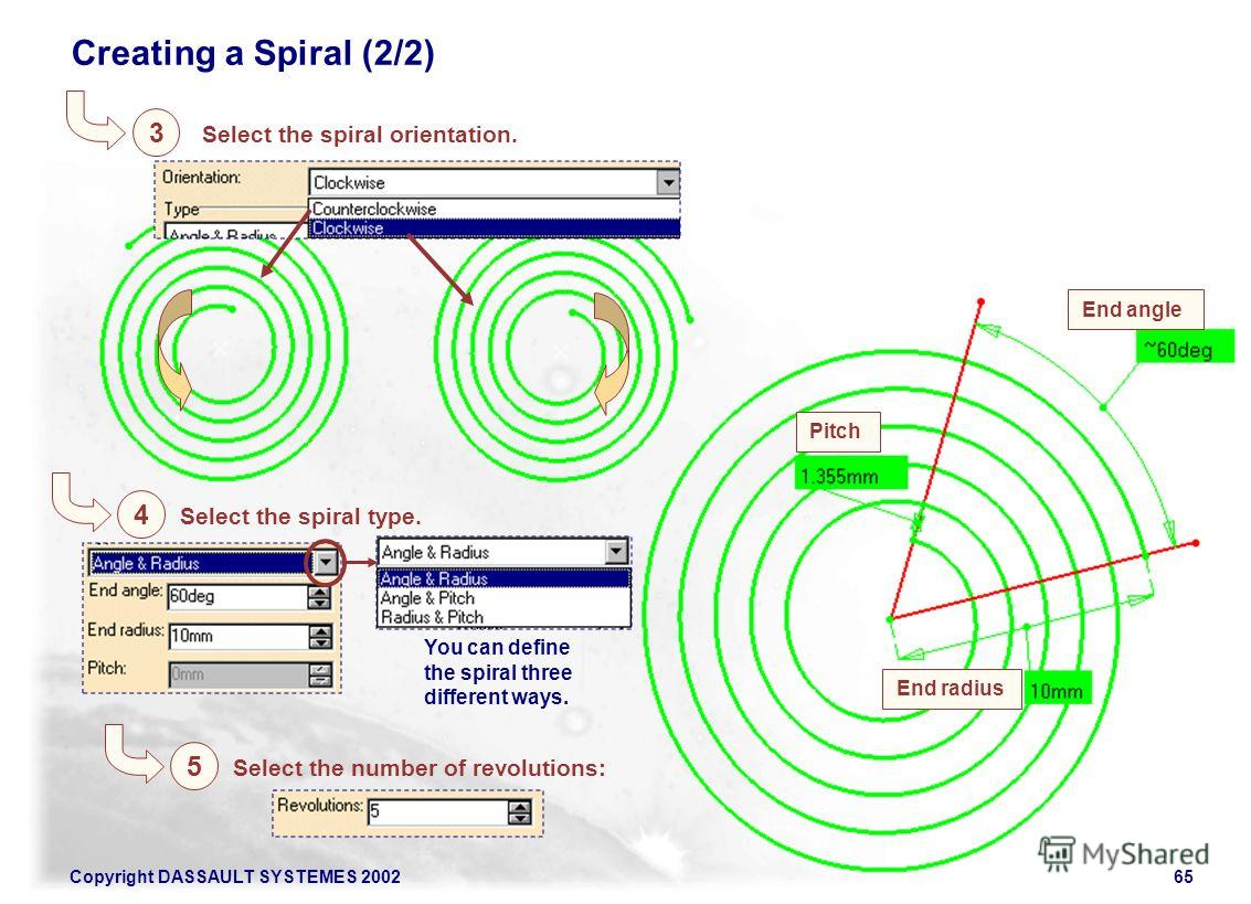 Copyright DASSAULT SYSTEMES 200265 Creating a Spiral (2/2) Select the spiral orientation. Select the spiral type. Select the number of revolutions: End angle End radius Pitch You can define the spiral three different ways. 3 4 5
