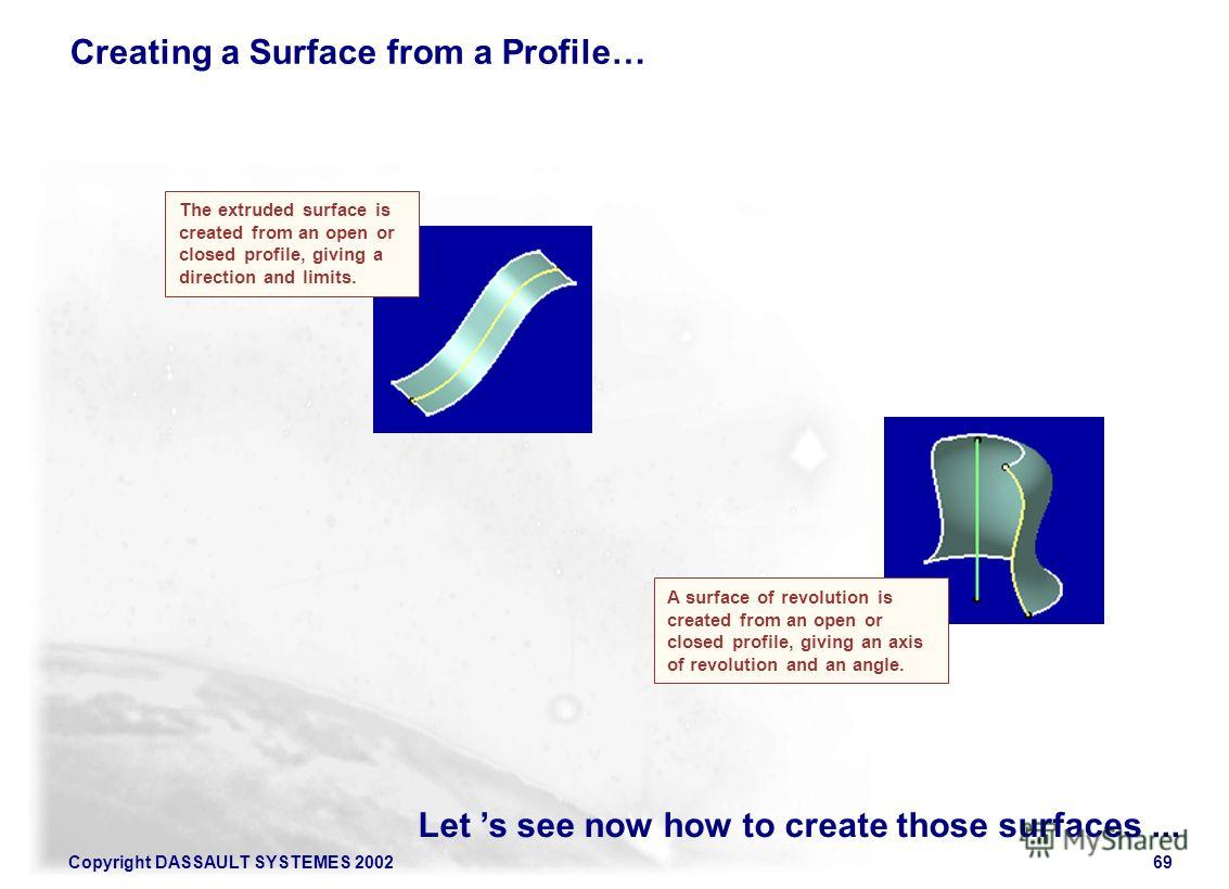 Copyright DASSAULT SYSTEMES 200269 Let s see now how to create those surfaces... Creating a Surface from a Profile… The extruded surface is created from an open or closed profile, giving a direction and limits. A surface of revolution is created from