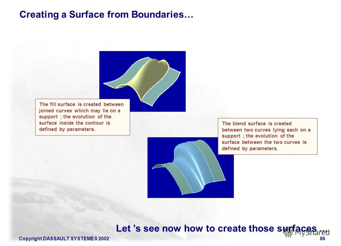 Copyright DASSAULT SYSTEMES 200286 Let s see now how to create those surfaces... Creating a Surface from Boundaries… The blend surface is created between two curves lying each on a support ; the evolution of the surface between the two curves is defi