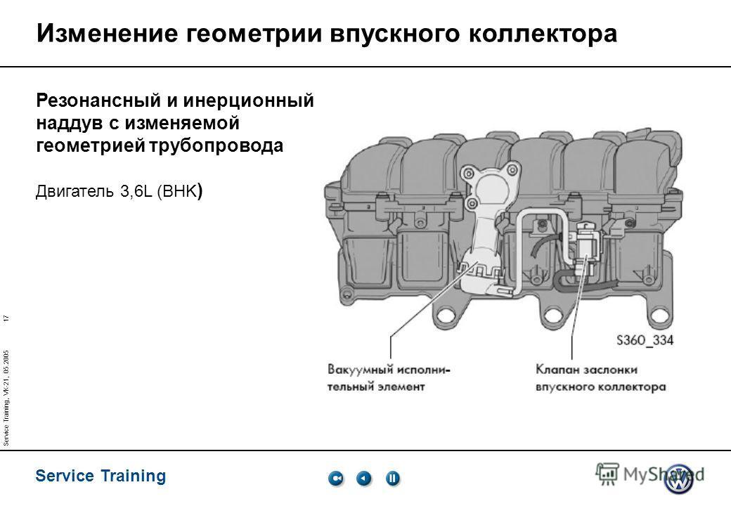 17 Service Training Service Training, VK-21, 05.2005 Изменение геометрии впускного коллектора Резонансный и инерционный наддув с изменяемой геометрией трубопровода Двигатель 3,6L (BHK )