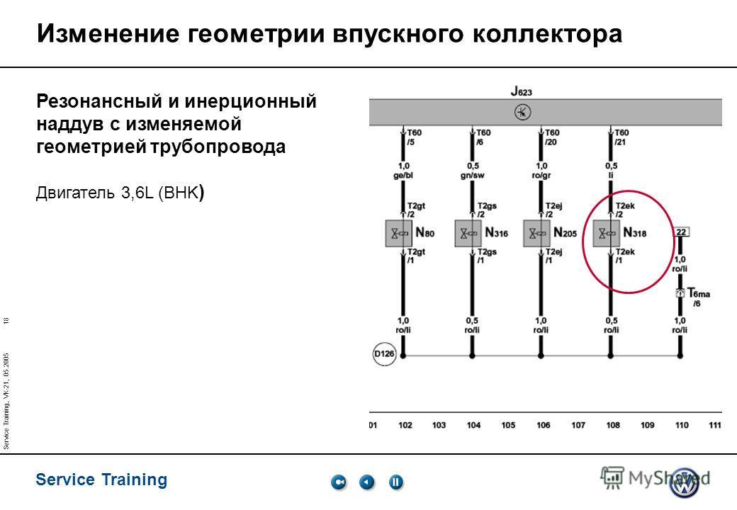 18 Service Training Service Training, VK-21, 05.2005 Изменение геометрии впускного коллектора Резонансный и инерционный наддув с изменяемой геометрией трубопровода Двигатель 3,6L (BHK )