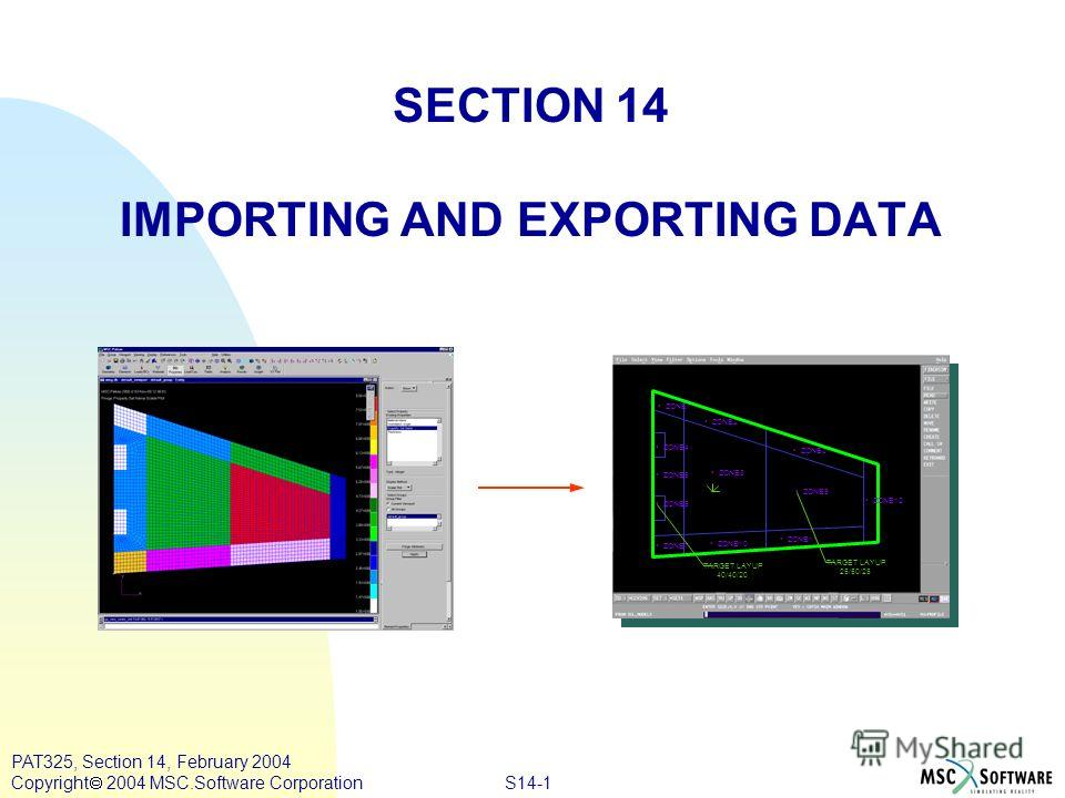 S14-1 PAT325, Section 14, February 2004 Copyright 2004 MSC.Software Corporation SECTION 14 IMPORTING AND EXPORTING DATA TARGET LAYUP 25/50/25 TARGET LAYUP 40/40/20 ZONE6 ZONE4 ZONE5 ZONE1 ZONE8 ZONE2 ZONE3 ZONE10 ZONE11 ZONE7 ZONE9 ZONE12