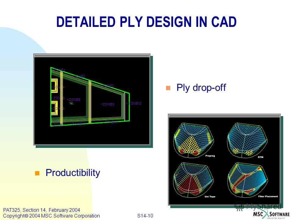 S14-10 PAT325, Section 14, February 2004 Copyright 2004 MSC.Software Corporation DETAILED PLY DESIGN IN CAD ZONE4 ZONE8 ZONE9 ZONE6 ZONE5 ZONE2 ZONE3 ZONE1 ZONE12 ZONE11 ZONE10 ZONE7 n Ply drop-off n Productibility