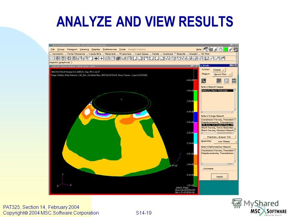 S14-19 PAT325, Section 14, February 2004 Copyright 2004 MSC.Software Corporation ANALYZE AND VIEW RESULTS