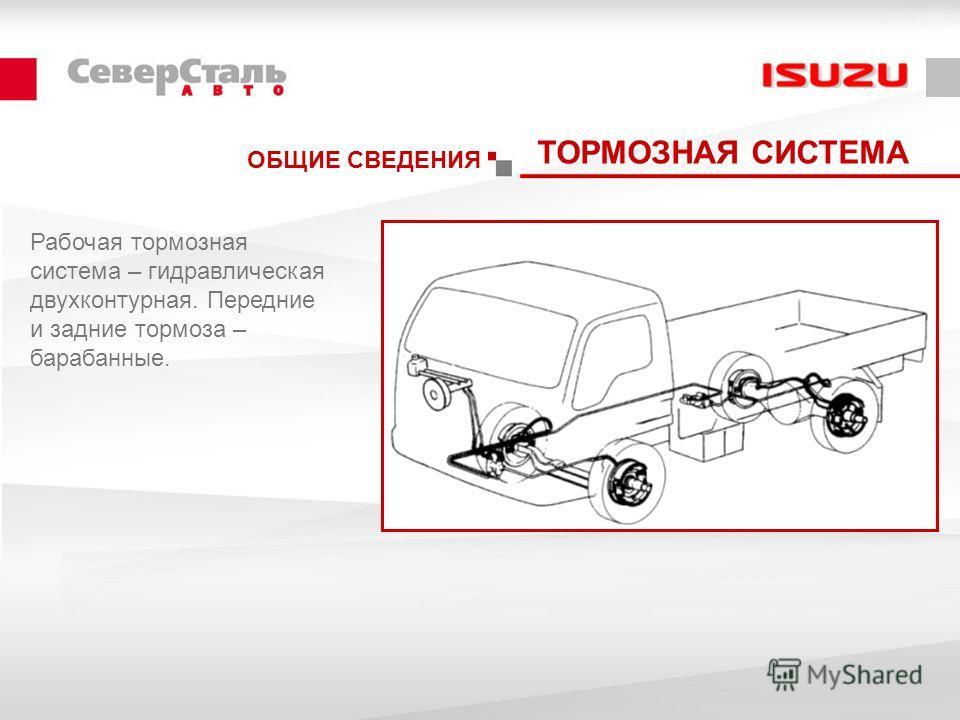 ОБЩИЕ СВЕДЕНИЯ ТОРМОЗНАЯ СИСТЕМА Рабочая тормозная система – гидравлическая двухконтурная. Передние и задние тормоза – барабанные.