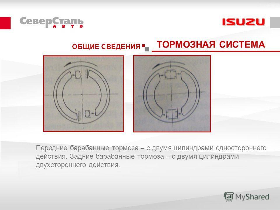 ОБЩИЕ СВЕДЕНИЯ ТОРМОЗНАЯ СИСТЕМА Передние барабанные тормоза – с двумя цилиндрами одностороннего действия. Задние барабанные тормоза – с двумя цилиндрами двухстороннего действия.