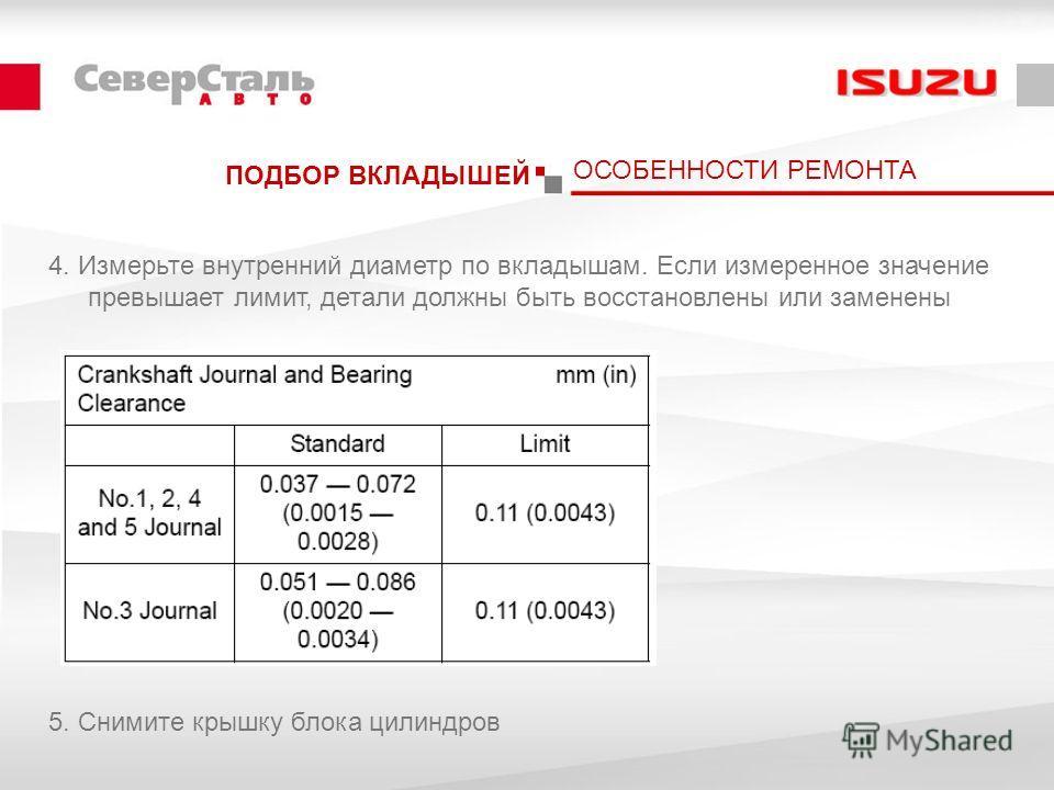 ПОДБОР ВКЛАДЫШЕЙ 4. Измерьте внутренний диаметр по вкладышам. Если измеренное значение превышает лимит, детали должны быть восстановлены или заменены 5. Снимите крышку блока цилиндров ОСОБЕННОСТИ РЕМОНТА