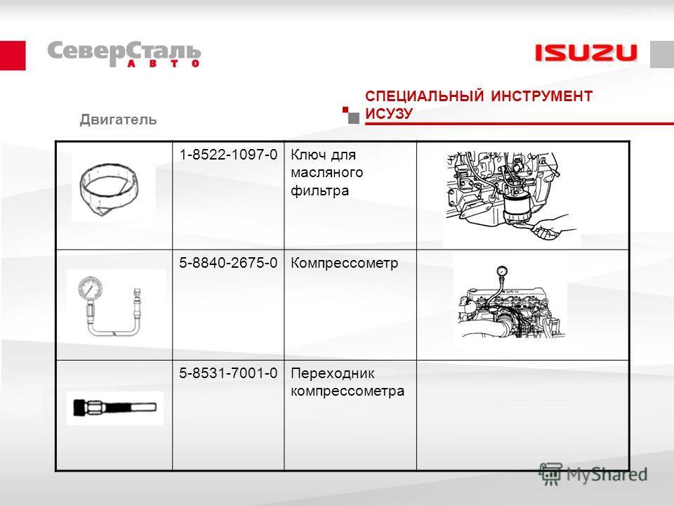 Двигатель СПЕЦИАЛЬНЫЙ ИНСТРУМЕНТ ИСУЗУ 1-8522-1097-0Ключ для масляного фильтра 5-8840-2675-0Компрессометр 5-8531-7001-0Переходник компрессометра