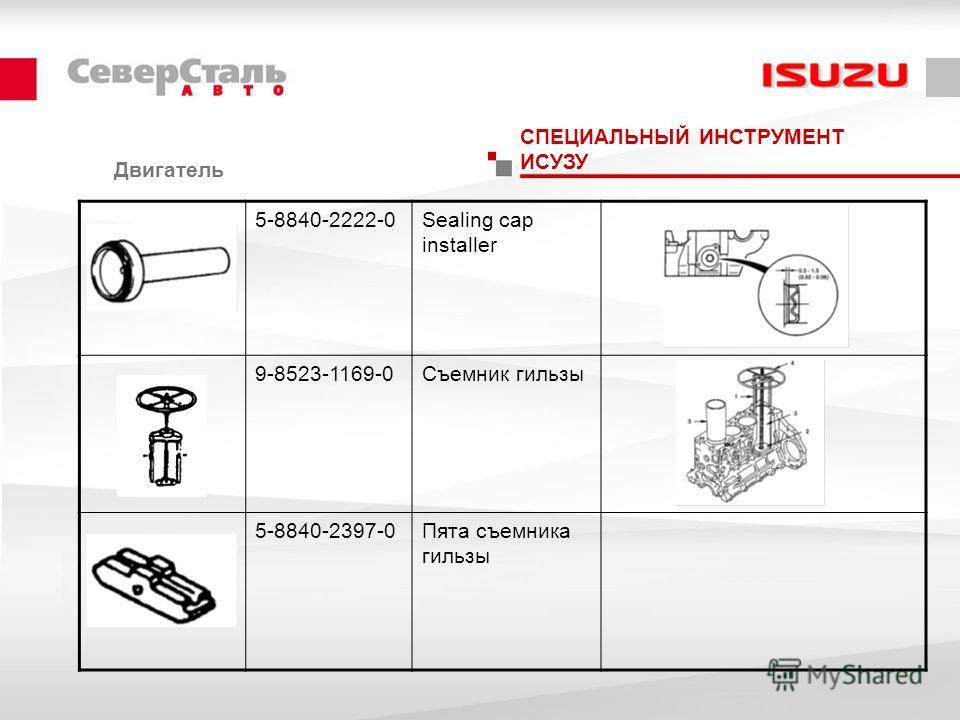 Двигатель СПЕЦИАЛЬНЫЙ ИНСТРУМЕНТ ИСУЗУ 5-8840-2222-0Sealing cap installer 9-8523-1169-0Съемник гильзы 5-8840-2397-0Пята съемника гильзы